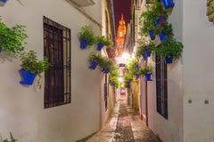 Flower street Calleja de las Flores Cordoba, Spain Stock Photo
