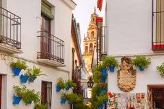 Flower street Calleja de las Flores Cordoba, Spain Stock Photography