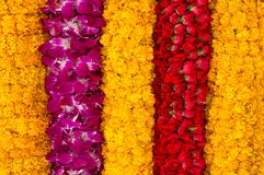 Flower stripes background. Background of flower garlands in thai style. Thailand Stock Images