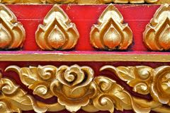 Flower Stucco At Worship of Buddhist Stock Photos
