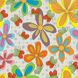 Flower Style Drawing Line Butterfliy Dot Seamless  Royalty Free Stock Image