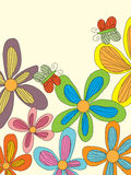 Flower Style Drawing Line Butterfly Stock Images
