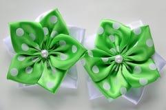 Flower-style Kanzashi. Japanese style. Green and white polka dot royalty free stock photos
