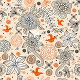 Flower summer pattern and birds Stock Image