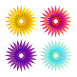 Flower sun fire ornament. (red yellow blue purple Royalty Free Stock Photos