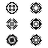 Flower or sun from shapes. Abstrct logo for sun or flower. Made from black and white monochrome color. This creative idea from shapes Stock Images