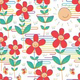 Flower sun smile butterfly rainbow style Japan cloud line seamless pattern royalty free illustration