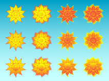 Flower sun stylized ethnic icons set Royalty Free Stock Images