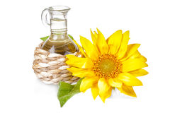 Flower of a sunflower and small bottle with the vegetable oil Stock Image