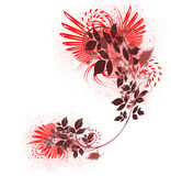 Flower swirl. Beautiful red flower swirl and splats Stock Images