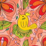 Flower swirl bird seamless pattern Stock Photos