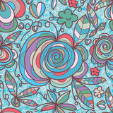 Flower swirl leaf pastel seamless pattern. This illustration is drawing flower swirl in the blue and green colors background with seamless pattern Stock Photos