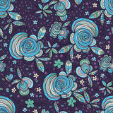 Flower swirl leaf purple seamless pattern Stock Image