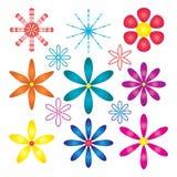Flower symmetry set. Illustration design gradient color symmetry flower decor set white color background graphic element Stock Photography