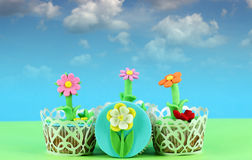 Flower tasty cupcakes Stock Image