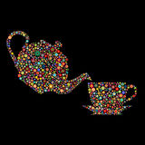Flower tea. Pot and cup on black background Stock Image