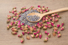 Flower tea, rose buds and Lavender went Stock Images