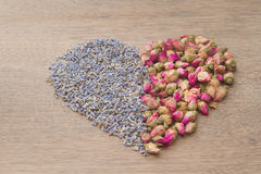 Flower tea rose buds and Lavender went Stock Photos