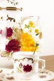 Flower and Tea Set Stock Image