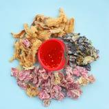 Flower tempura. Deep Fried flower tempura with sauce on dish Stock Photos