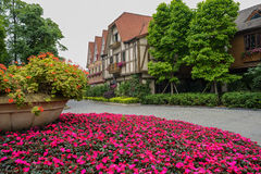 Flower terrace before European-style buildings Stock Photography