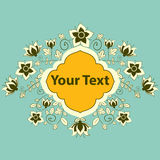 Flower text label. Royalty Free Stock Photo