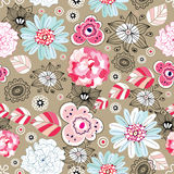 Flower texture. Seamless pattern of pink-colored flowers and leaves on a brown Stock Photography