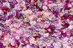 Free Flower Texture Background For Wedding Scene. Roses, Peonies And Hydrangeas, Artificial Flowers On The Wall. Royalty Free Stock Image - 96699276