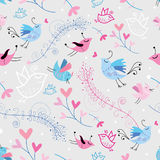 Flower texture with birds Stock Image