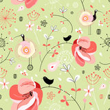 Flower texture with birds Royalty Free Stock Image