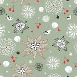 Flower texture with birds and berries Royalty Free Stock Image