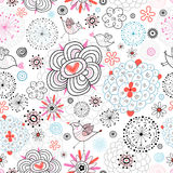 Flower texture with birds love. Seamless floral pattern with birds in love with graphics on a white background Stock Photos