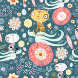 Flower texture with cats. Seamless floral pattern with funny cats on a blue background Stock Photography