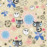 Flower texture with cats Royalty Free Stock Photo