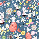 Flower texture of Easter rabbits Stock Image