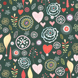Flower Texture with Hearts Stock Photo