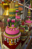 Flower thai style on shrine worship colorful concept Royalty Free Stock Photo