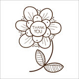 Flower with thank you text. Stock Photos