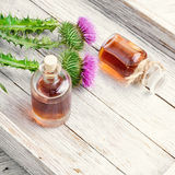 Flower thistles and extract from it Royalty Free Stock Image