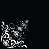 Flower tile. A black and white abstract design that can be used as a corner piece Stock Photography