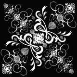 Flower tile gothic 1. A abstract gothic style tile design in black and white stock illustration