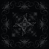 Flower tile gothic 2 black. A black and grey design in a gothic style tile stock illustration