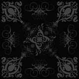 Flower tile gothic 3 black. A gothic style tile design in black and grey vector illustration