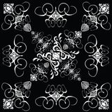 Flower tile gothic 4. A gothic repeat design in black and white stock illustration