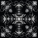 Flower tile gothic 5. A repeat gothic tile design in black and white Royalty Free Stock Image