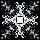Flower tile step. A abstract black and white tile design in a gothic style stock illustration