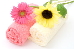 Flower on the towel. Sunflower and gerbera daisy on the towel Stock Images