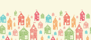 Flower town houses horizontal seamless pattern Royalty Free Stock Images