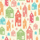 Flower town houses seamless pattern background Royalty Free Stock Photos
