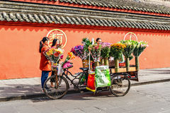 Flower trade stand. Stock Photo